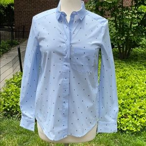 H&M Blue and White Pinstripe Ladybug Buttondown
